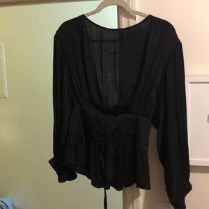 Black silk long sleeve corset top
